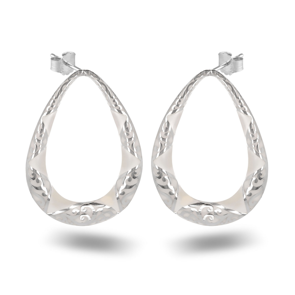 925 Sterling Silver White Mother-of-pearl Pear Shape Earrings