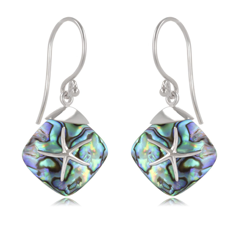 925 Sterling Silver Abalone Mother-of-pearl Starfish Earrings