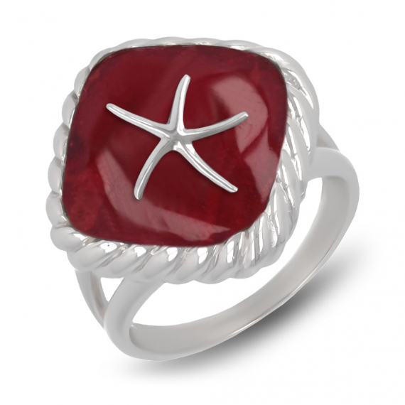 925 Sterling Silver Coral Starfish Ring