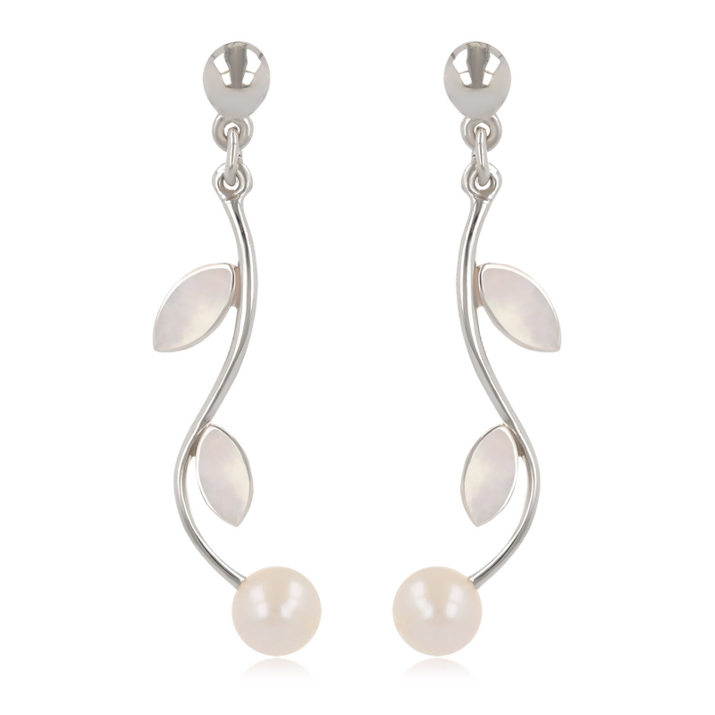 Women's Gift Idea-Dangle Earrings- Pearl White Mother of pearl- Petals- Sterling Silver-Women