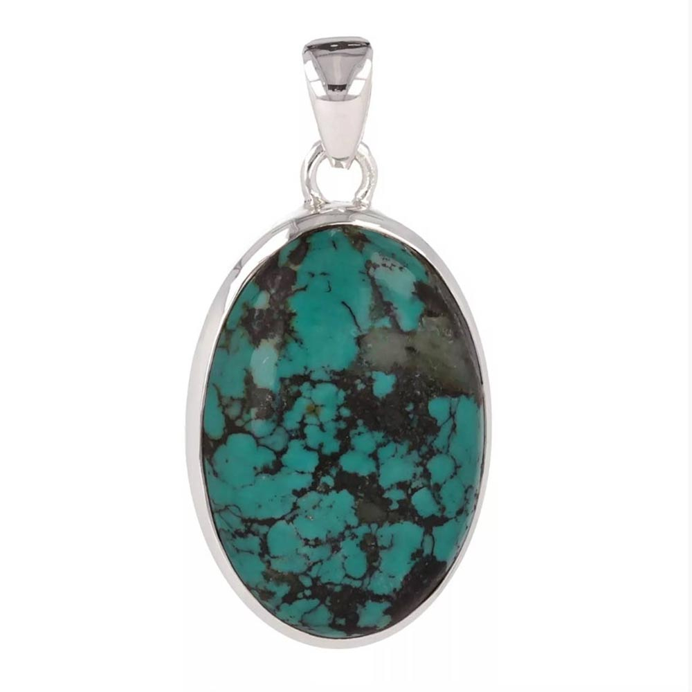 925 Sterling Silver Turquoise Oval Shape Pendant