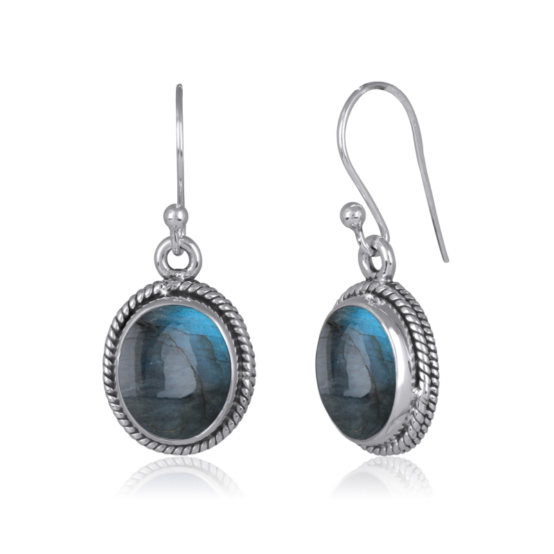 925 Sterling Silver Labradorite oval Shape Earrings