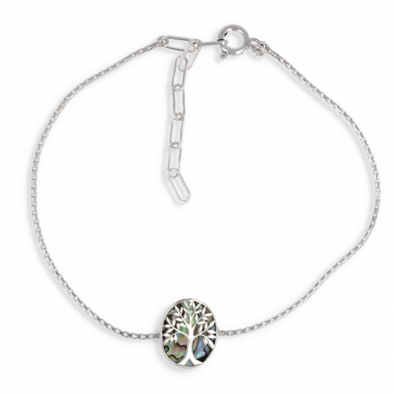 925 Sterling Silver Abalone Mother-of-pearl Tree of Life Oval Shape Bracelet