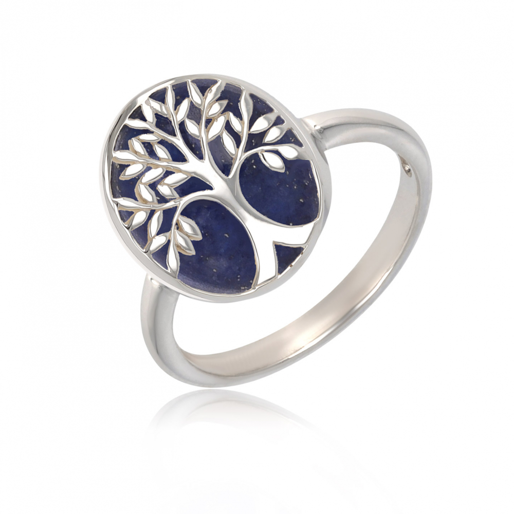 gift idea for women-Gift Jewelry Symbol Tree of Life-Ring - Lapis Lazuli- Sterling Silver-Oval-Woman