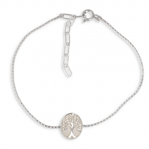 925 Sterling Silver White Mother-of-pearl Tree of Life Oval Shape Bracelet