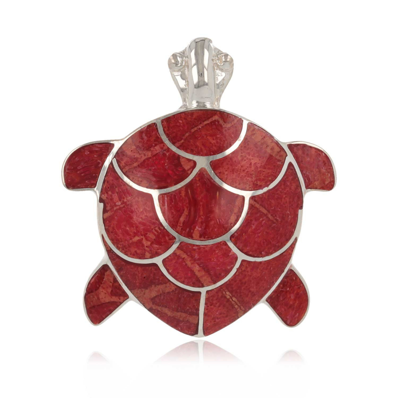 925 Sterling Silver Coral Tortoise Pendant