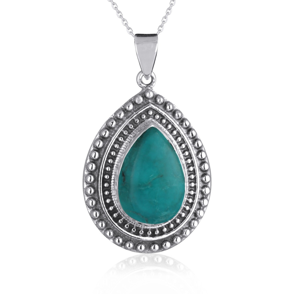 925 Sterling Silver Turquoise Pear Shape Pendant