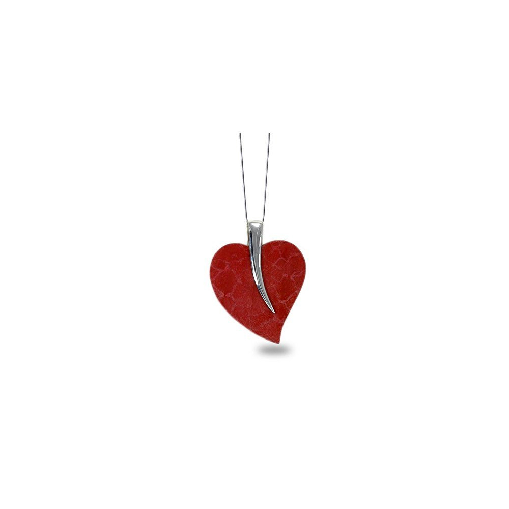 925 Sterling Silver Coral Heart Shape Pendant