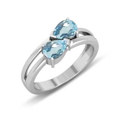 Engagement ring-Two genuine Sapphire stones and double rhodium silver ring