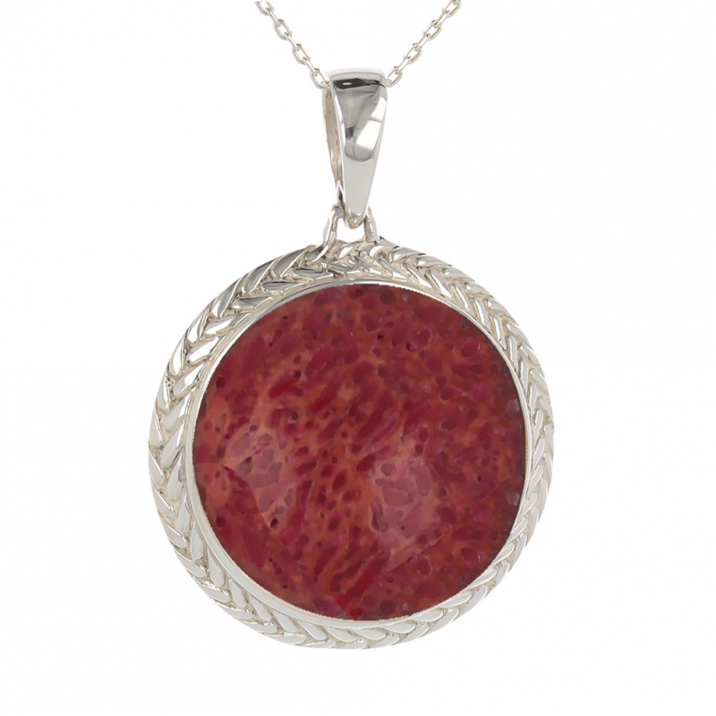 Gift cabochon jewelry-Pendant-Coral- Sterling silver-round-Woman