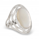Red coral cabochon ring oval shape with rhodium 925 sterling silver