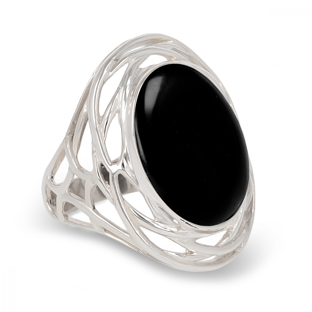 925 Sterling Silver Onyx Oval Shape Ring