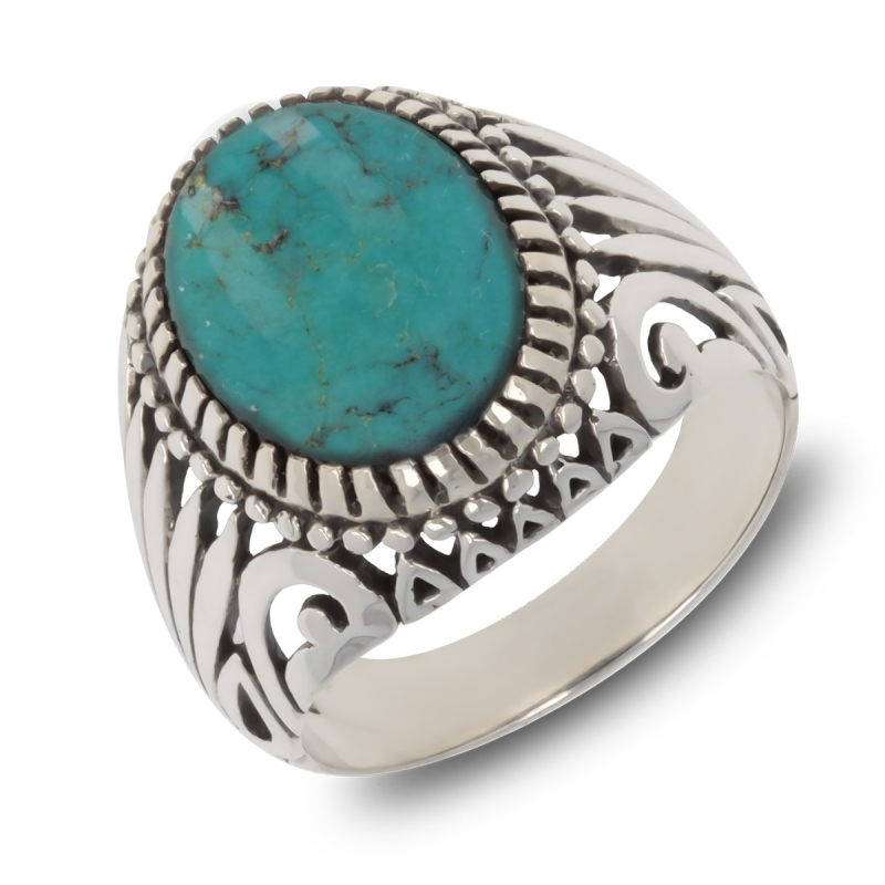 Antique effect 925 Sterling Silver Turquoise Biker Ring