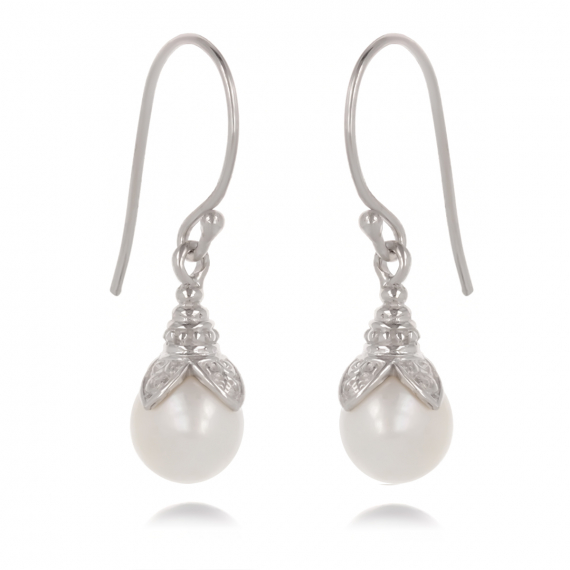 925 Sterling Silver White Pearl Earrings