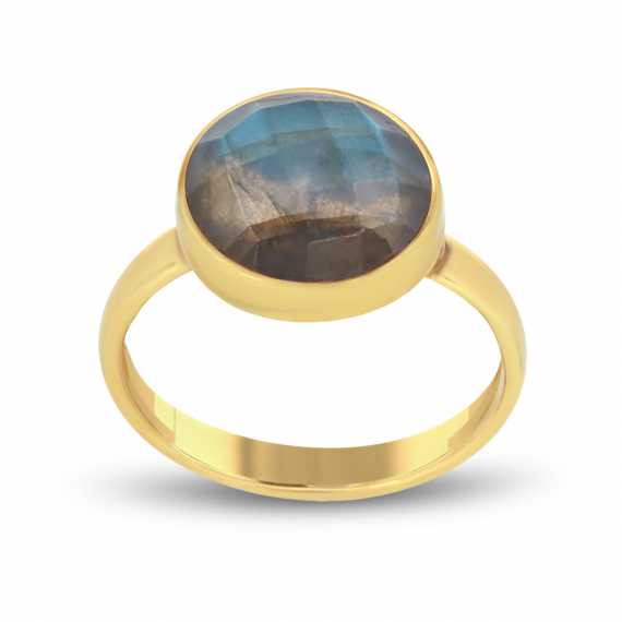 Gold Plated Faceted Labradorite Round Shape Ring