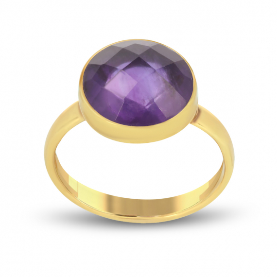 Gold Plated Faceted Amethyst Round Shape Ring
