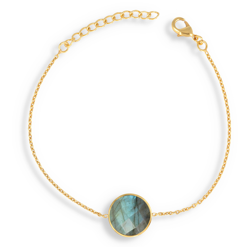 Gold Plated Faceted Labradorite Round Shape Bracelet