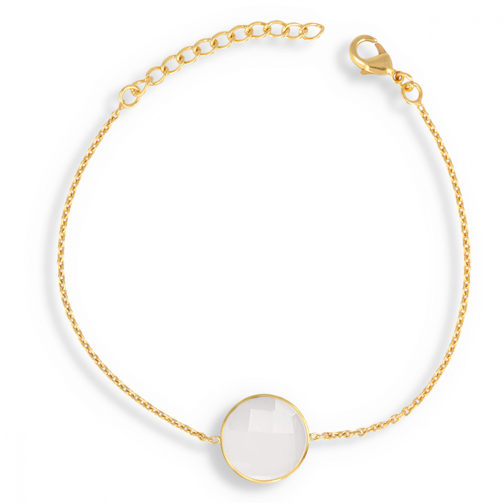Gold Plated Faceted MoonRound Shape Bracelet
