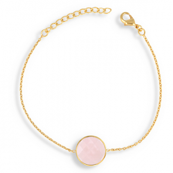 Gold Plated Faceted Pink Quartz Round Shape Bracelet