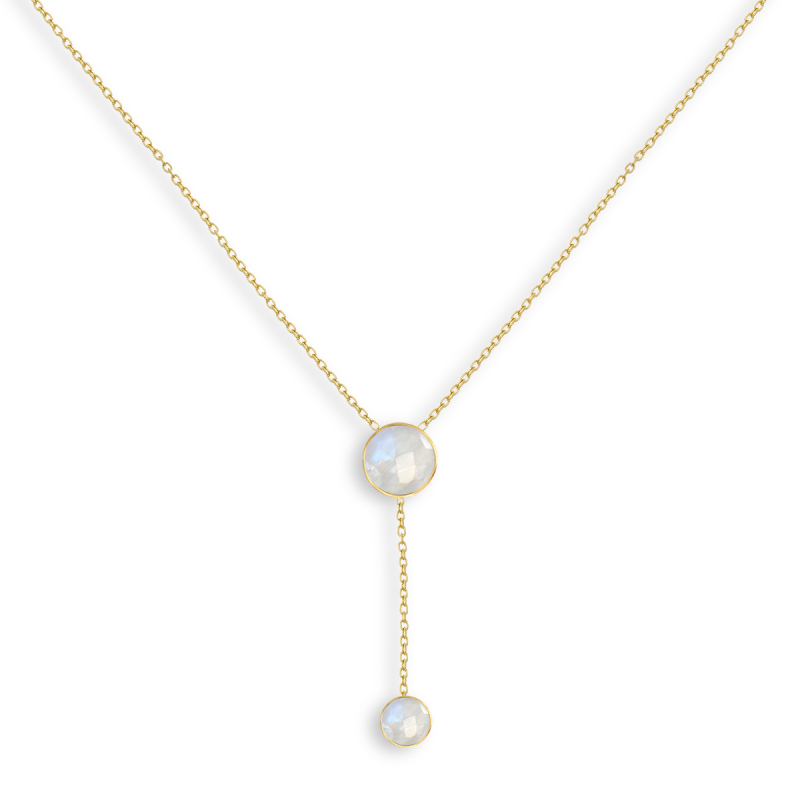 Gold Plated Faceted MoonRound Shape Necklace