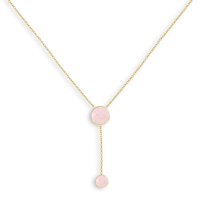 Collier double médaillon de Pierre de Quartz Rose facettée doré à l'Or