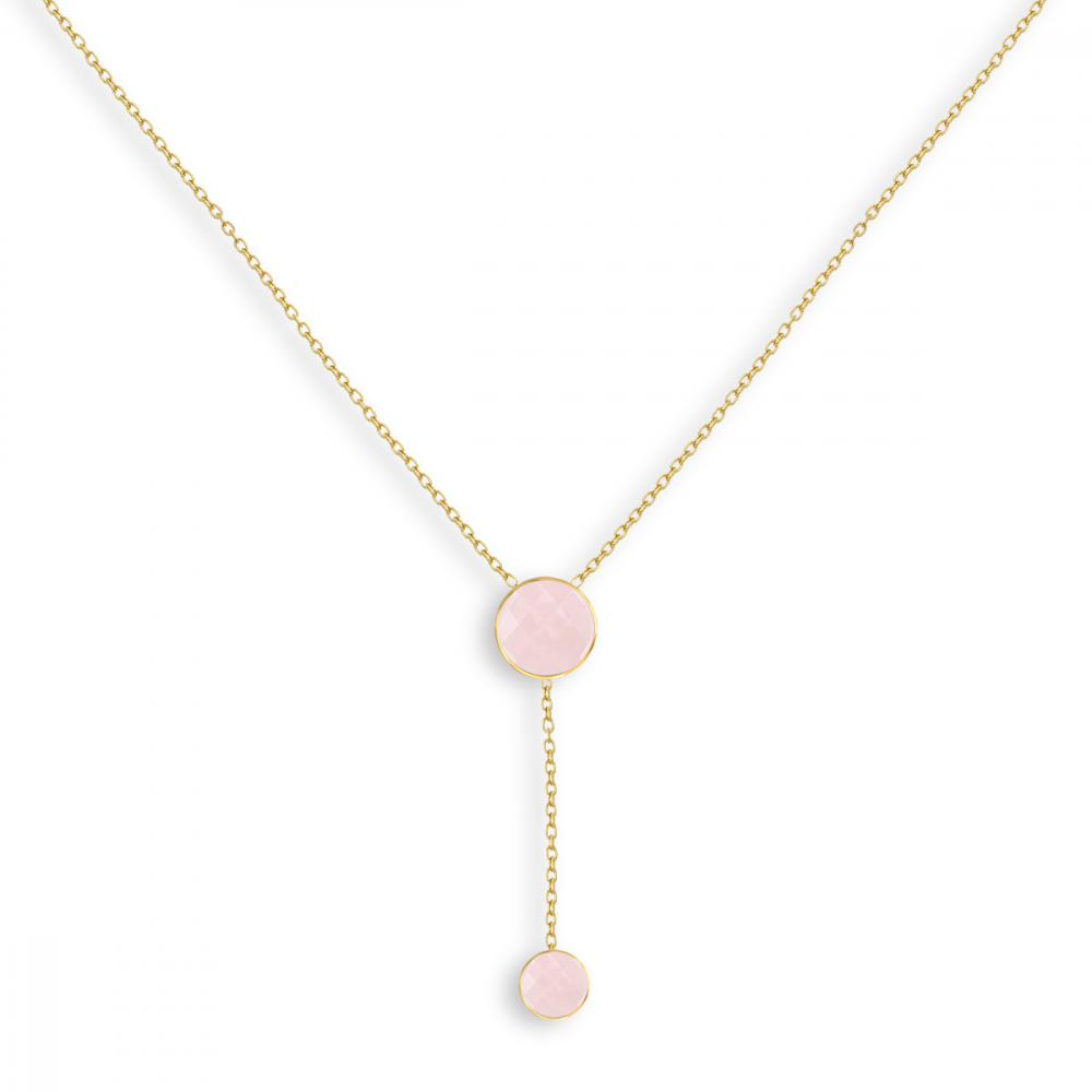 Moonstone double medallion necklace on gold plated