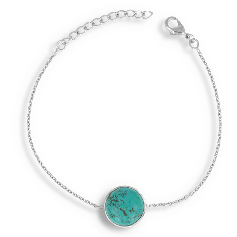 925 Sterling Silver Turquoise Round Shape Bracelet