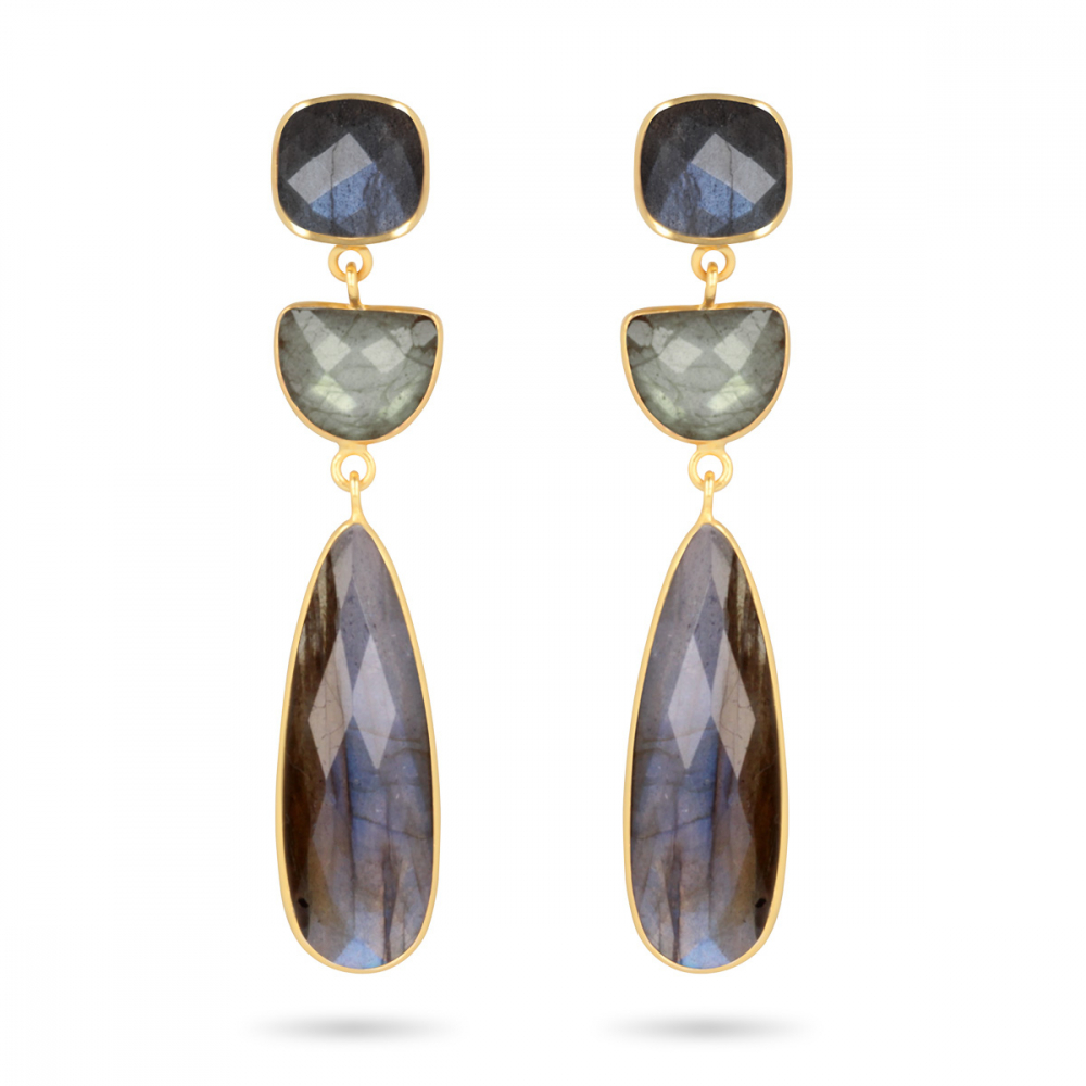Gold Plated 925 Sterling Silver Labradorite 3 Earrings