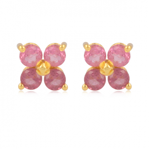 Gold Plated 925 Sterling Silver Tourmaline flower Earrings