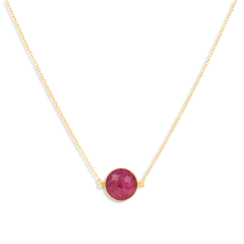 Gold Plated 925 Sterling Silver ruby round shape Necklace