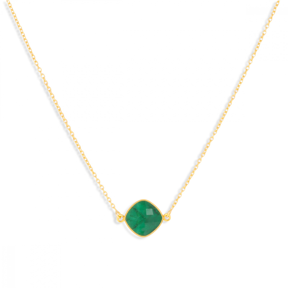 Gold Plated 925 Sterling Silver Emerald round shape Necklace