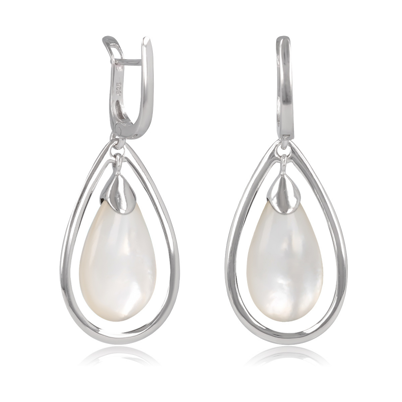925 Sterling Silver White Mother-of-pearl Drope Shape Earrings