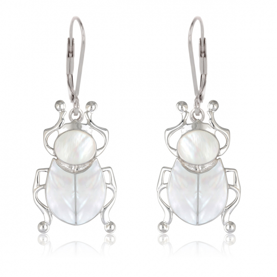 925 Sterling Silver White Mother-of-pearl beetle Earrings