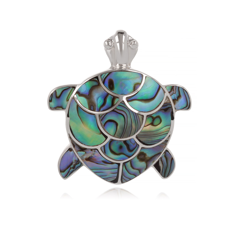 925 Sterling Silver Abalone Mother-of-pearl Tortoise Pendant