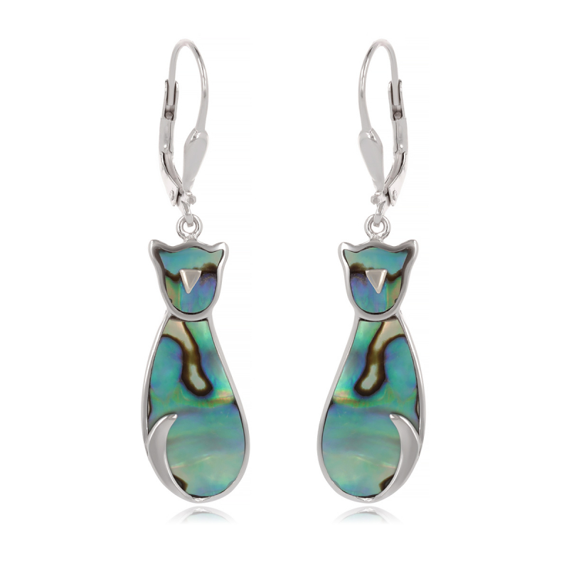 925 Sterling Silver Abalone Mother-of-pearl Cat Earrings