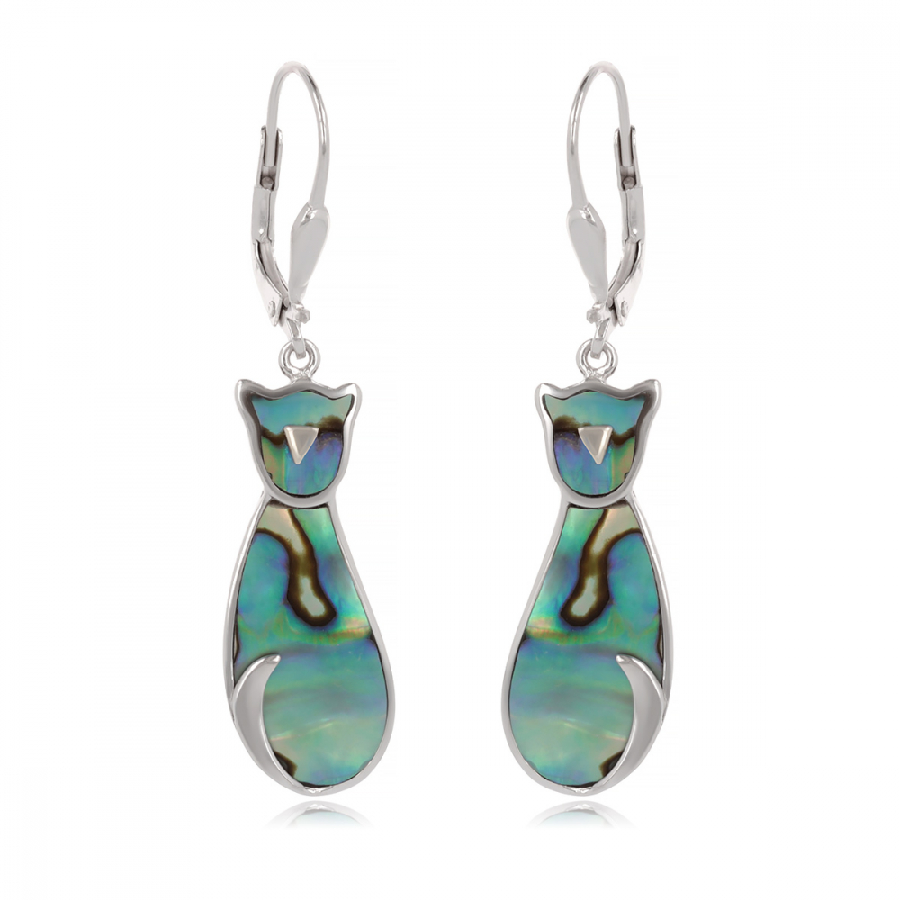 White mother-of-pearl earrings cat shape on rhodium 925 sterling silver