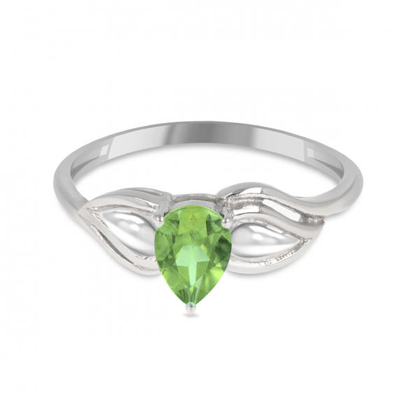 925 Sterling Silver Peridot pear shape ring