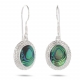 White mother-of-pearl earrings oval shape with rhodium 925 sterling silver