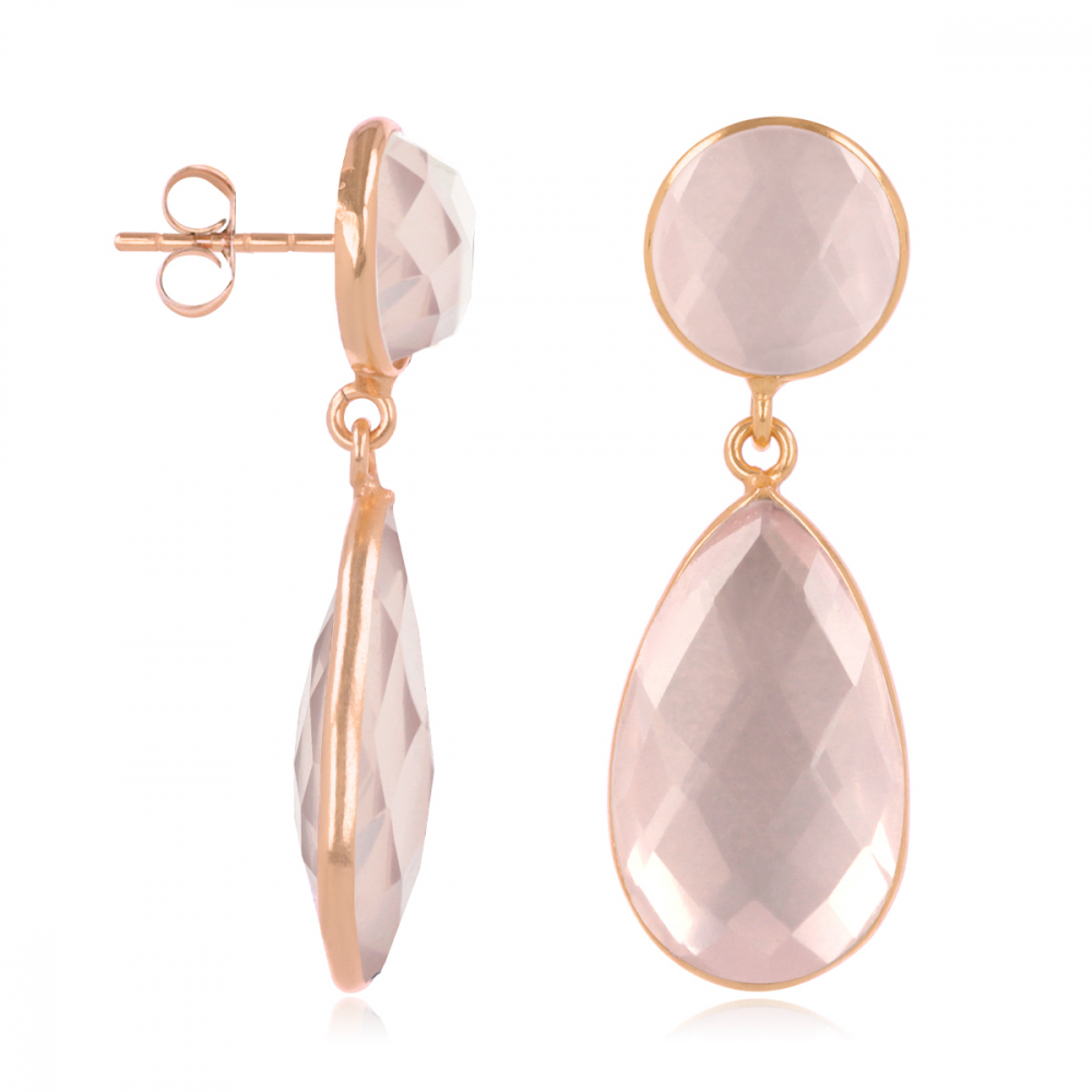 Natural Pink Quartz Earrings, setting fine rose gold plated on 925 sterling silver