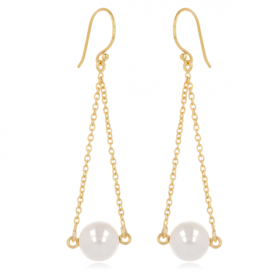 Gold plated 925 sterling silver Earrings, imitation pearls