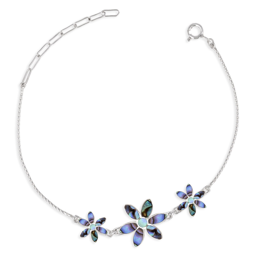 925 Sterling Silver Abalone Mother-of-pearl Flowers Bracelet