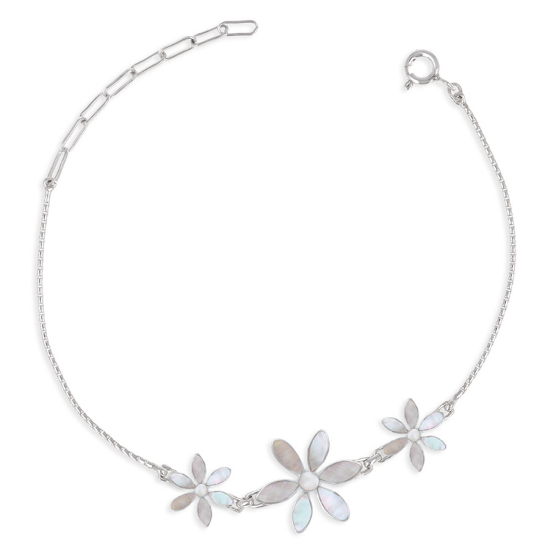 Adjustable bracelet Mother-of-pearl 3 flowers setting sterling silver 925