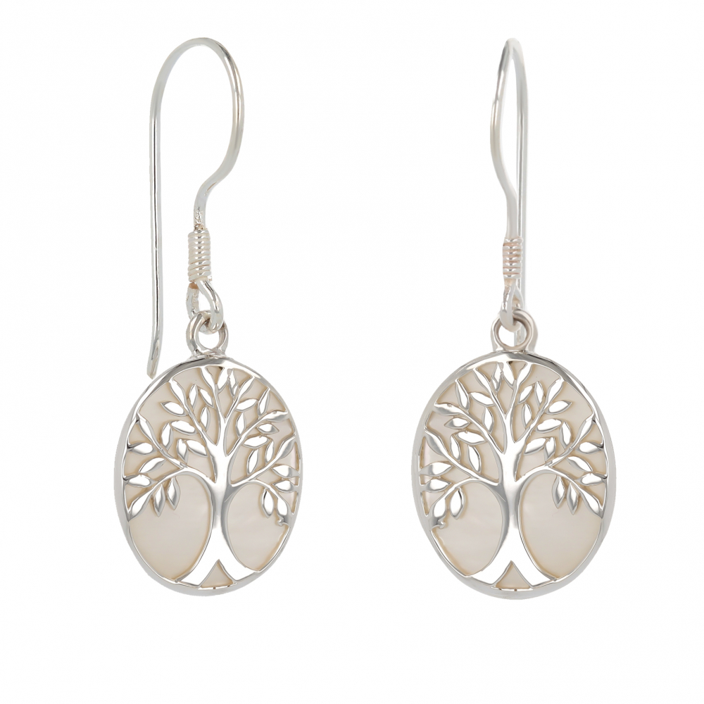 925 Sterling Silver White Mother-of-pearl Tree of Life Oval Shape Earrings