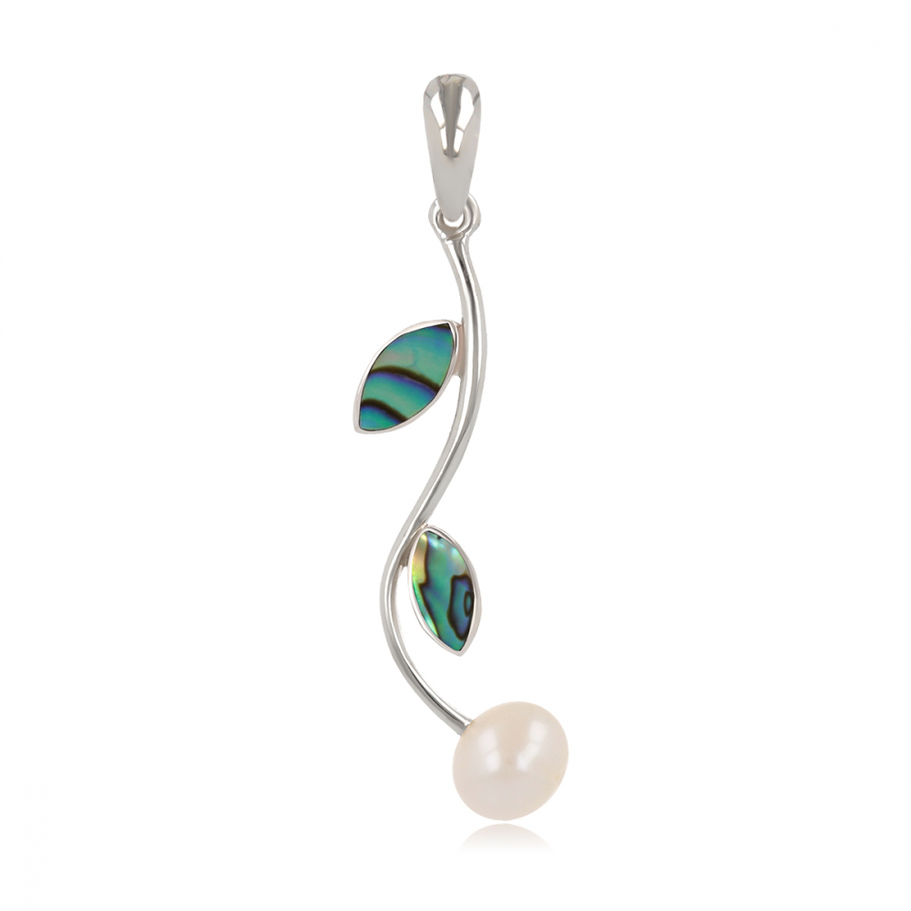 925 Sterling Silver Abaloni Petals and Natural White Pearl Pendant