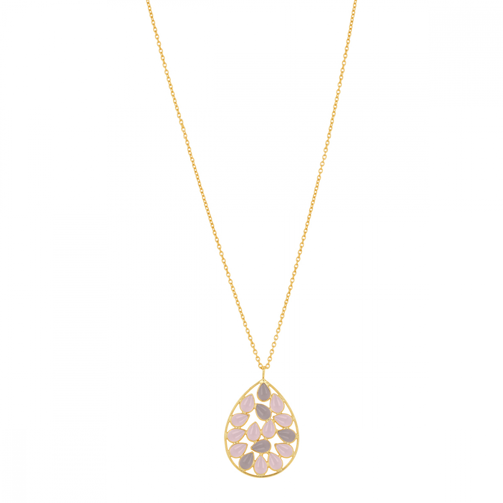 Gold Plated Faceted Pink Quartz Round Shape Necklace