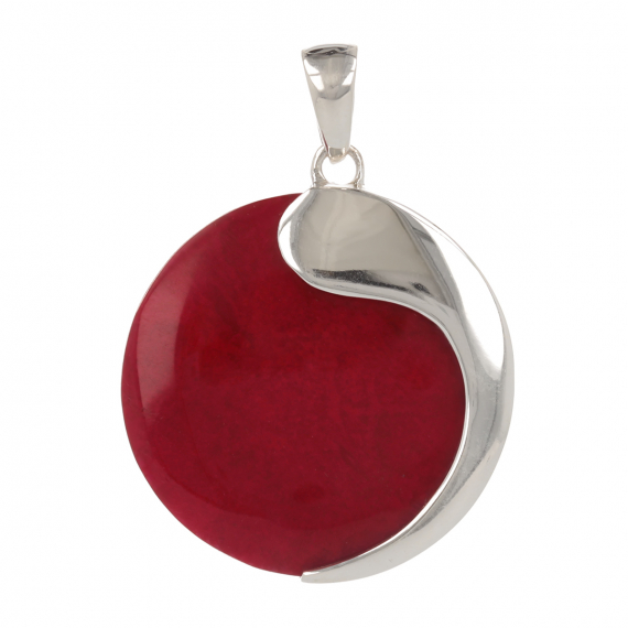 925 Sterling Silver Coral Round Shape Pendant