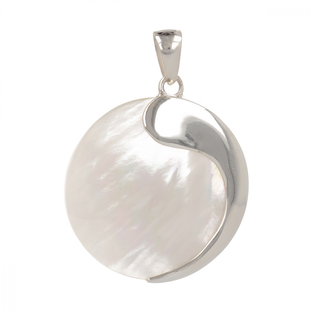 White mother-of-pearl triskell pendant round shape on rhodium 925 sterling silver