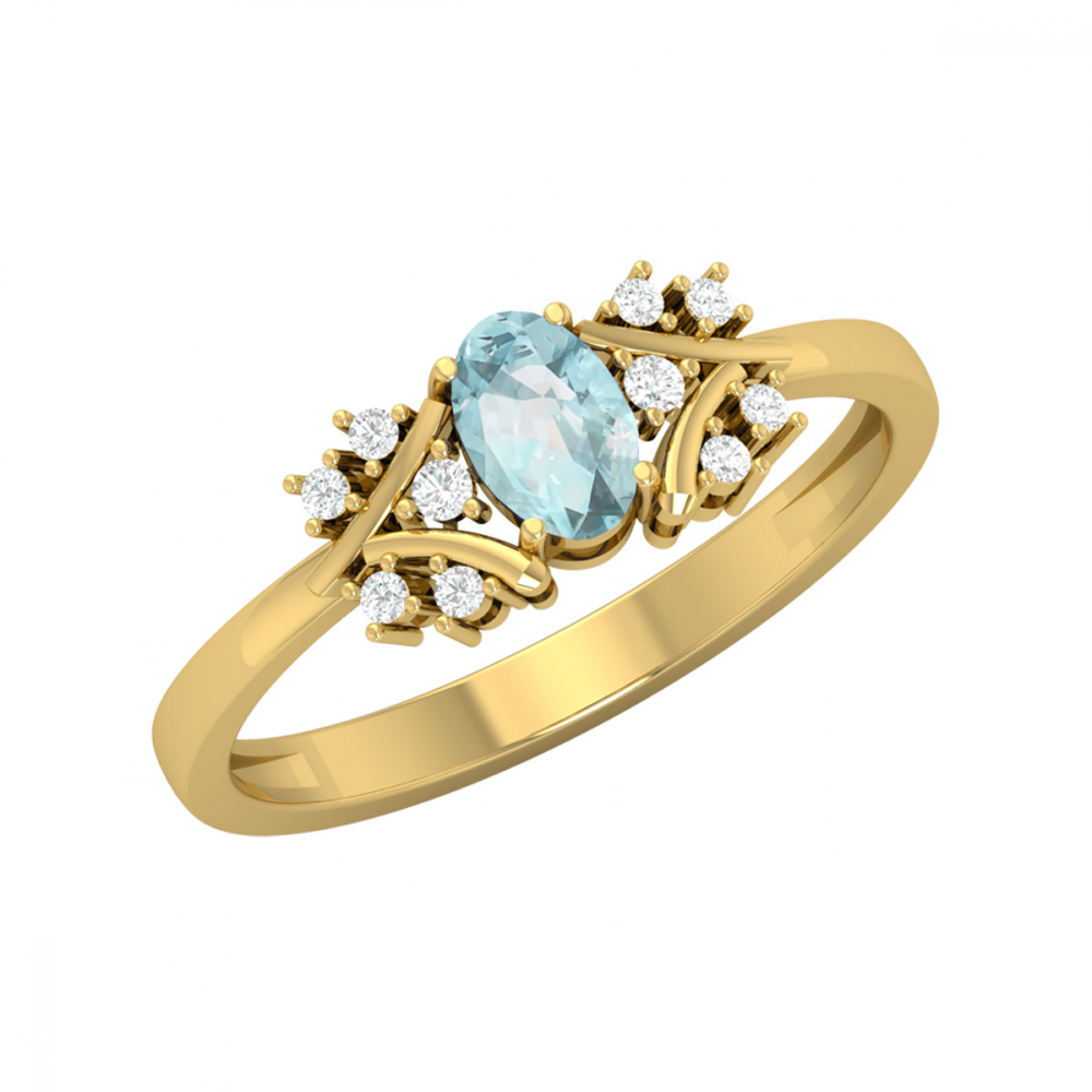 Bague Or Jaune Aigue-Marine et diamants 1.556grs