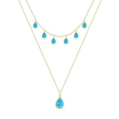 Gold Plated 925 Sterling Silver faceted turquish pear shape Necklace