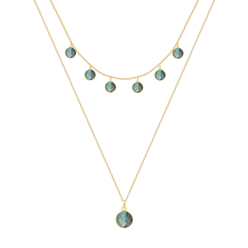 Gold Plated 925 Sterling Silver faceted Labradorite round shape Necklace